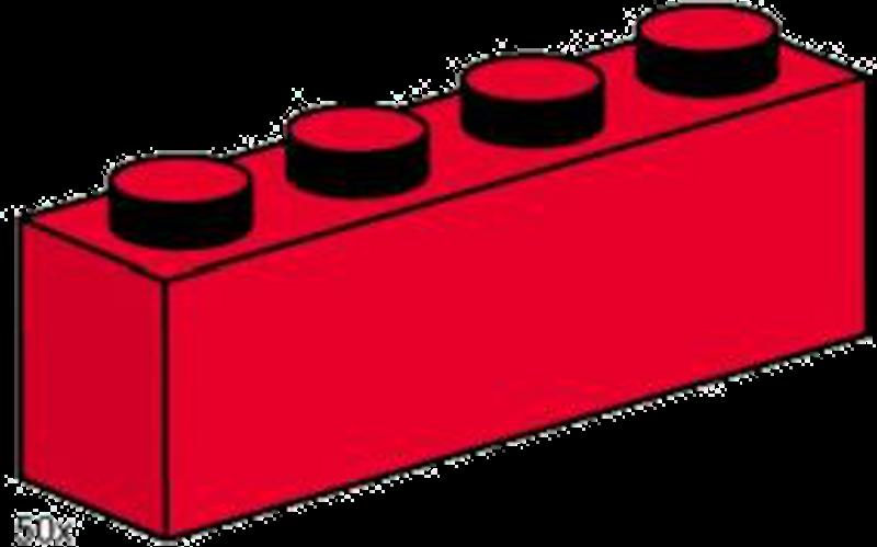 LEGO® Steine & Co. 3472 - Steine rot - 1x4 Noppen - 50 Stück Packung